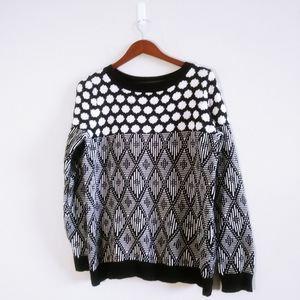 Joe Fresh Black & White Patterned Sweater XL